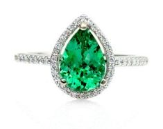 Pear Emerald Engagement Ring Diamond Halo Emerald Ring 14K May Birthstone Custom Bridal Jewelry 18K Rose Gold Platinum http://ift.tt/1eEdLur
