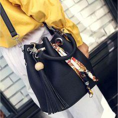 Cindy Scarf Bucket Hangbag - The Wild Flower Shop    • Bag Upper width 24cm . Lower width 24.5cm . Height 24cm . Base width 16.5cm . • Material: PU Leather   $41