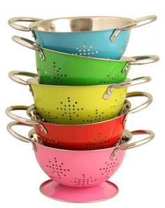 Mini Metal Colander - 5 assorted colours - £7.50 - A great range of Kitchen & Dining gifts and homewares from The Contemporary Home Online Shop