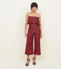 QED Red Leopard Print Bardot Jumpsuit | New Look