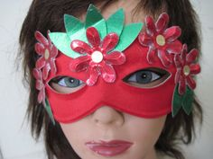 WOODLAND NYMPH  vintage red floral masquerade mask by FASHIONRERUN, $18.00