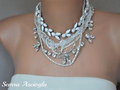 Chunky Layered Brides Necklace with by HMbySemraAscioglu on Etsy, $165.00