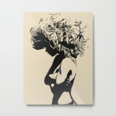 """Our metal prints are thin, lightweight and durable 1/16"""" aluminum sheet canvas. The high gloss finish enhances color and produces sharp image details. Each sheet has a 3/4"""" wooden frame attached to the back to offset from the wall. Prints have a wire or sawtooth hanger, depending on size selected. #girl #woman #hair #lion #sexy #art"""