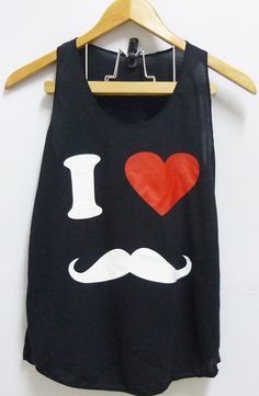 I LOVE MUSTACHEred heart top women teen Tank top by CuteClassic, $12.00