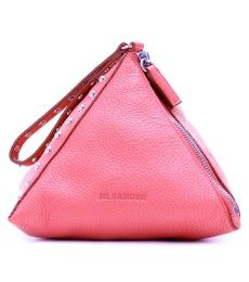 Jil Sander Stud-Embellished Leather Structured Pyramid-Shaped Pouch (with looped wristlet strap). I Believe In Pink, Buy Bags, Best Handbags, Cosmetic Pouch, Studded Leather, Jil Sander, Fashion Bags, Women's Accessories, Shoe Bag
