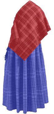 Huldremosekvindens dragt. Huldremosekvindens dragt er utrolig velbevaret, selv om den er næsten 2000 år gammel. Kvinden var klædt i en dragt, der bestod af en ternet nederdel og et ternet tørklæde i fåreuld og to skindkapper. Nederdelen blev holdt sammen om taljen med en smal læderrem i en indvævet linning. Tørklædet var snoet om kvindens hoved og fæstet under den venstre arm med en nål lavet af en fugleknogle. På overkroppen bar hun yderst en kappe lavet af flere mørkebrune fåreskind med en…