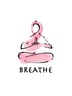 yoga art watercolor print BREATHE por LindsaySatchell en Etsy
