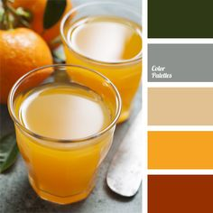 Combination of red-brown and orange-yellow with dark green is complemented with neutral colors: gray and beige. This scheme can be used to design a summer kitchen or the open terrace of a country house, as well as for exterior trim of a balcony or loggia of a city apartment.