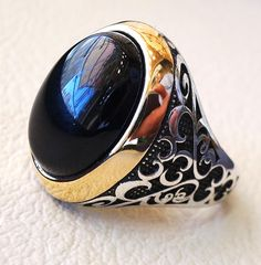 black onyx agate aqeeq stone sterling silver 925 men ring