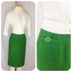 4054449a9 Vintage 1950s Kelly Green Wool Pencil Skirt XS by hipsmcgee Green Wool, Wool  Skirts,