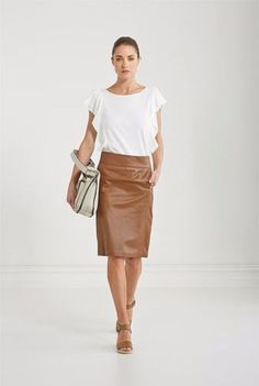 Trenery-Tan-Brown-Cognac-Leather-Pencil-Skirt-Size-6-fits-size-6-8