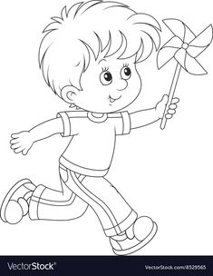 Boy with a whirligig vector image on VectorStock Color Activities, Pinwheels, Little Boys, Adobe Illustrator, Smurfs, Coloring Pages, Vector Free, Embroidery, Black And White