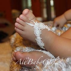 White Barefoot Sandals Barefoot Sandals Baby por AllBabyGirls