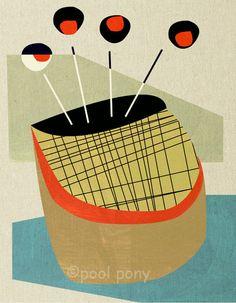"""ein-bleistift-und-radiergummi: """" Mid Century Design Art 'Hors D'Oeuvres' by poolponidesign """" Mid Century Modern Decor, Mid Century Art, Mid Century Design, Midcentury Modern, Danish Modern, Graphic Design Posters, Graphic Design Illustration, Graphic Illustrations, Collages"""