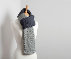 Hand Knit Cotton Colour Block Scarf. Grey and Blue by buryknitwear, £38.00