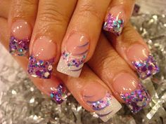 Purple glitter french with accent finger design. Love this!