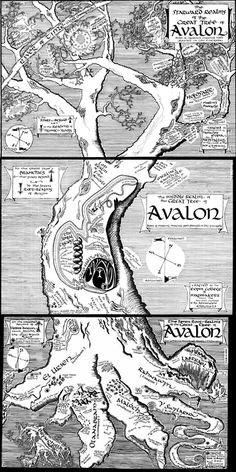 Full map of the Realms of The Great Tree of Avalon from the trilogy by T.A Barron. One of my favorite things about these books was how creative and detailed the setting was