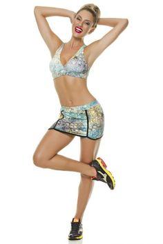 Top e Shorts Saia Cobra Verde com Amarelo Diva Fitness 4023VA-4026VA Dani Banani Moda Fitness
