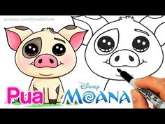 How to Draw Moana Pua Pig step by step Cute and Easy - Disney Movie - YouTube