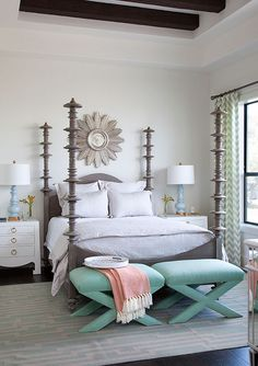 neutral bedroom with a pop of color  - chic