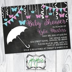 Butterfly Chalkboard Baby Shower Invitation Light by jojosdesigns