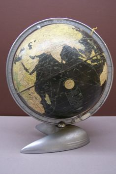 """New Peerless 10 inch globe. , Very Rare """"Flying V"""" Art Deco Stand, Globe Maker: Weber Costello Co. (Published: Weber Costello Co.  1932 Chicago Heights, Il.)"""