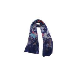 Echarpe Gerbera Azul Marinho de Algodão #echarpes #lenços #lenço #scarf #scarfs