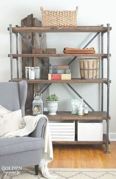 Rustic industrial shelving units shelves shelving ideas making home base. Regal Industrial, Industrial Pipe Shelves, Rustic Industrial Decor, Industrial House, Pipe Shelving, Shelving Ideas, Industrial Furniture, Rustic Shelves, Pipe Bookshelf