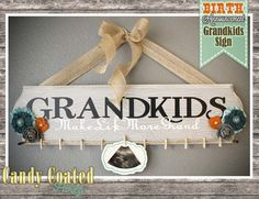 Birth Announcement Grandkids Sign by CandyCoatedParty on Etsy Twine Crafts, Wood Crafts, Grandkids Sign, Picture Frame Crafts, Nana Gifts, Grandparent Gifts, Novelty Items, Grandparents Day, How To Make Diy