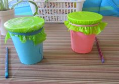 Make a simple drum for preschool fun! I'm using solo cups and waxed paper