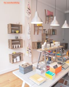 decor, graphic design, idea, store tour, wall storage, chair display, shelves shops, wooden crates, old crates