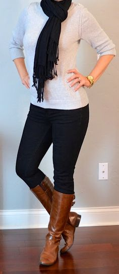 Outfit Posts: outfit post: grey sweater, black skinny jeans, black scarf, but with black boots Jean Outfits, Sweater Outfits, Casual Outfits, Cute Outfits, Boot Outfits, Winter Wedding Outfits, Fall Winter Outfits, Winter Clothes, Winter Wear