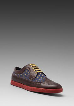 FRED PERRY Eton Leather in Chocolate/Carbon Blue -