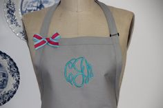 Khaki Monogrammed Apron - Personalized Khaki Apron, Neutral Color Aprons, Personalized Baking Kitchen Aprons, Beach Coastal Aprons, Custom by Wheelering on Etsy