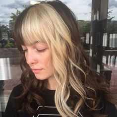 50 extraordinary ways to rock long hair with a pony - Hair Color Long Hair With Bangs, Long Curly Hair, Curly Hair Styles, Wispy Bangs, Blonde Bangs, Blonde Streaks, Dyed Bangs, Hair Color Streaks, Blonde Hair