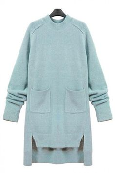 Plain Knit Two-pocket Long Sleeve Shift High Low Dress