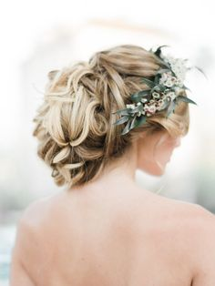 Romantic braided updo + flower crown: http://www.stylemepretty.com/california-weddings/pasadena/2016/07/06/trending-floral-filled-braids/ | Photography: Honey Honey Photography - http://www.hoooney.com/