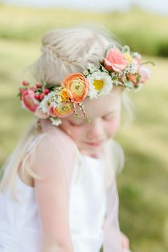 bright and sunny floral crown on the flower girl