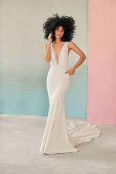 Melissa by Allure Bridals shows off beaded details on a simple crepe dress with a long train Crepe Wedding Dress, Crepe Dress, Wedding Dresses, Allure Couture, Girls Dresses, Flower Girl Dresses, Bridal And Formal, Bridal Show, Formal Gowns