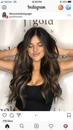 Violet Lob with Tousled Waves - 20 Purple Balayage Ideas from Subtle to Vibrant - The Trending Hairstyle Hair Color And Cut, Ombre Hair Color, Brown Hair Colors, Hair Colour Brown Highlights, Hair Cut, Brown Hair Balayage, Bayalage On Dark Hair, Mi Long, Gorgeous Hair