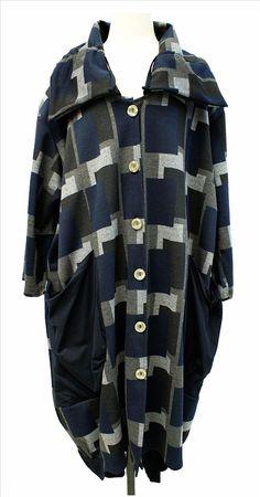 AKH Fashion Labina Sosan Lagenlook langer Mantel Ballonmantel Karodesign XXL Mode in blau bei www.modeolymp.lafeo.de