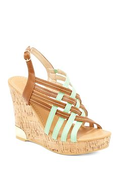 Mint and Brown Criss Cross Wedge Sandal