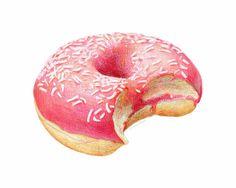 Pink Sprinkle Donut // Food Illustration // Art print for girl's room
