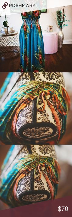 Colorful, artistic maxi dress I love this dress!  I originally purchased it at a little boutique in Grand Lake, CO.  It has a very Money quality to the design in the fabric that I adore.  Elastic waistline in a beautiful aztec pattern.  Beautiful fabric ties on the top to drape over your shoulders.  It's a hot little number. Dresses Maxi