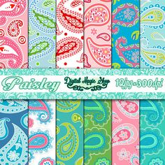 Instant Download Sweet PAISLEY Pattern Digital Papers Pack  by DigitalMagicShop, $2.50