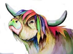Highland Cow Art  Signed Print from an original watercolour painting by artist Maria Moss. Available in 4 sizes.