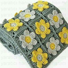 Crochet For Beginners Pillows Örgü Örgü Einsnummer - Knitting Örgü - Diy Crafts Crochet Flower Squares, Crochet Flower Scarf, Crochet Daisy, Granny Square Crochet Pattern, Crochet Motif, Crochet Cushions, Crochet Afghans, Crochet Blanket Patterns, Baby Knitting Patterns