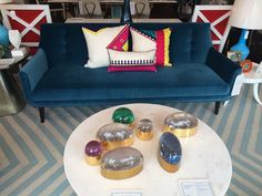 The wide stripe and greater color contrast make the throw pillow stand ou