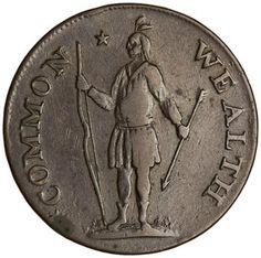Bronze cent, United States, 1787. 1955.181.21; COMMONWEALTH - Indian stg. l. with bow and arrow