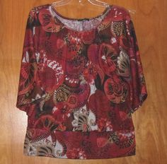 NOTATIONS PAISLEY PRINT KNIT TOP SIZE XLARGE BANDED HEM #NOTATIONS #KnitTop